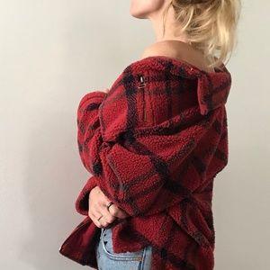 VINTAGE / plaid sherpa fleece zip coat